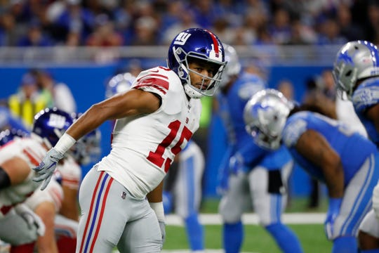 New York Giants wide receiver Golden Tate (15) lines up against the Detroit Lions, his former team, during the first half of an NFL football game, Sunday, Oct. 27, 2019, in Detroit. (AP Photo/Rick Osentoski)