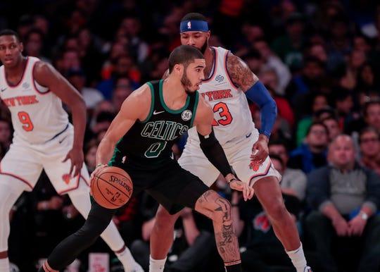 Oct 26, 2019; New York, NY, USA; Boston Celtics forward Jayson Tatum (0) dribbles as New York Knicks forward Marcus Morris Sr (13) defends during the first half at Madison Square Garden.