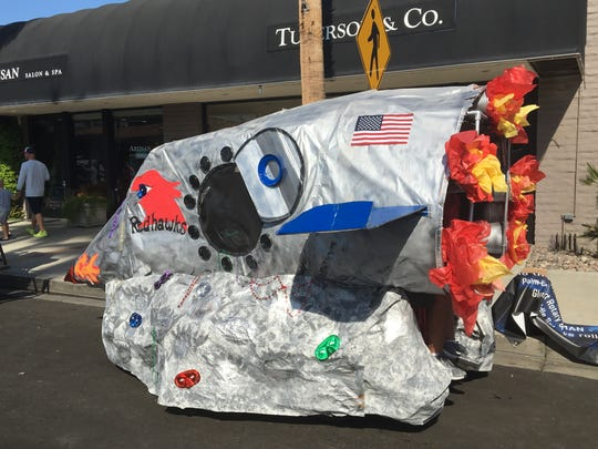 "John Glenn Middle School turned a golf cart into a rocket for the Palm Desert Golf Cart Parade on Sunday, Oct. 27, 2019. The parade's theme was ""Let the good times roll."""