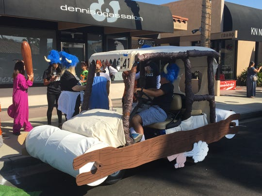 "The Palm Desert Charter Middle School After School Bridges class turned a golf cart into the Flintstone car for the Palm Desert Golf Cart Parade on Sunday, Oct. 27, 2019. The parade's theme was ""Let the good times roll."""