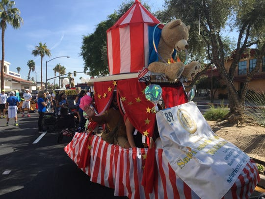 "Satori Center for Well-Being designed a golf cart like a circus for the Palm Desert Golf Cart Parade on Sunday, Oct. 27, 2019. The parade's theme was ""Let the good times roll."""