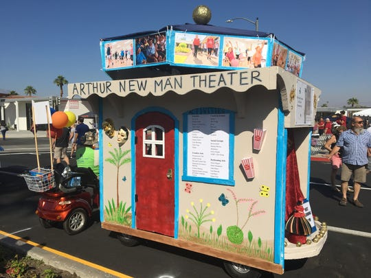 "The Joslyn Center designed a golf cart like an entertainment theater for the Palm Desert Golf Cart Parade on Sunday, Oct. 27, 2019. The parade's theme was ""Let the good times roll."""