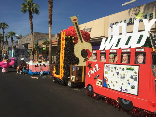 "Palm Desert High School students based golf cart designs on cities for their entry into the Palm Desert Golf Cart Parade on Sunday, Oct. 27, 2019. The parade's theme was ""Let the good times roll."""