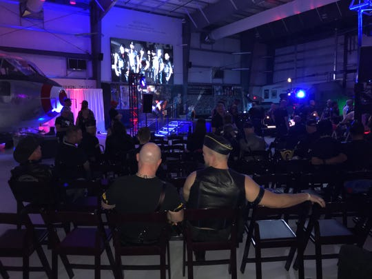 Hundreds of people came out Saturday night for the Mr. Palm Springs Leather competition at the Palm Springs Air Museum.