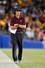 Oct 26, 2019; Pasadena, CA, USA; Arizona State Sun Devils head coach Herm Edwards watches from the sidelines during the second half against the UCLA Bruins at Rose Bowl. Mandatory Credit: Kelvin Kuo-USA TODAY Sports
