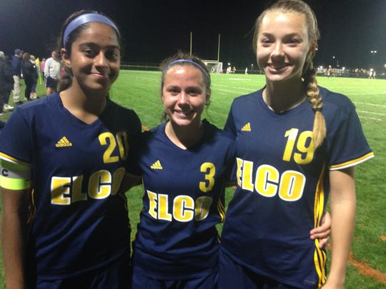 From left, Tanisha Grewal, Katelyn Rueppel and Natalie Swingholm combind for 7 of Elco's 9 goals on Saturday night.