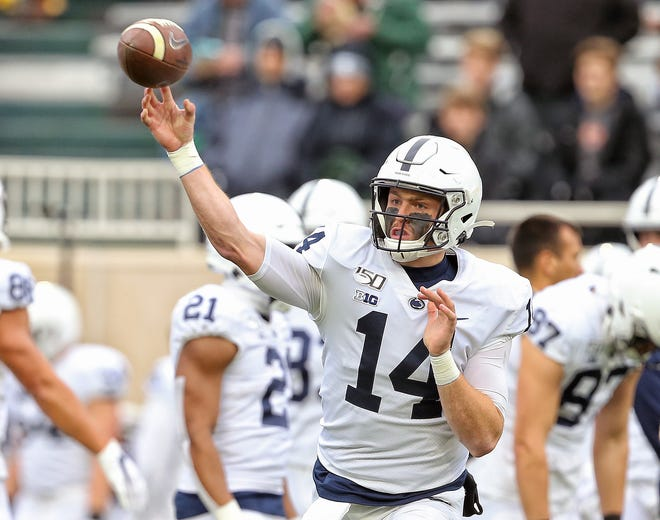 Oct 26, 2019; East Lansing, MI, USA; Penn State Nittany Lions quarterback Sean Clifford (14) warms up prior to a game against the Michigan State Spartans at Spartan Stadium. Mandatory Credit: Mike Carter-USA TODAY Sports