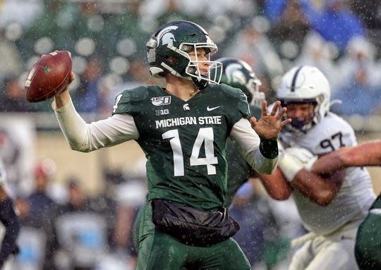 Oct 26, 2019; East Lansing, MI, USA; Michigan State Spartans quarterback Brian Lewerke (14) looks to throw the ball during the second half of a game against the Penn State Nittany Lions at Spartan Stadium. Mandatory Credit: Mike Carter-USA TODAY Sports