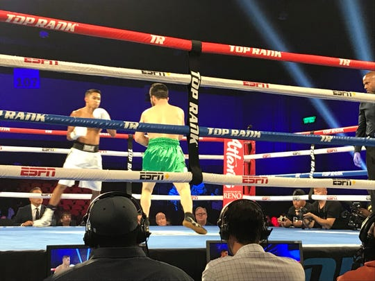 JJ Mariano, white shorts, won his second fight as a pro Saturday night