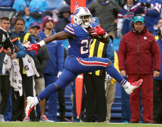 Bills running back Devin Singletary high steps his way to the end zone on this 28-yard touchdown reception.  Buffalo lost to Philadelphia 31-13.