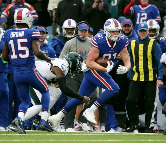 Bills tight end Tyler Kroft looks for yards after catch against the Eagles.