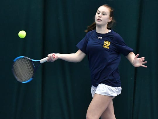 Pittsford Sutherland's Josie Libby plays in the Section V Girls Tennis State Qualifiers with doubles partner Gwenneth Mattia at Mendon Racquet & Pool Club, Saturday, Oct. 26, 2019.