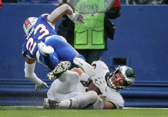Eagles tight end Zach Ertz makes this catch in front of Bills defender Micah Hyde.