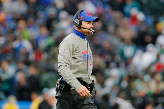 Buffalo Bills head coach Sean McDermott during the second half of an NFL football game against the Philadelphia Eagles, Sunday, Oct. 27, 2019, in Orchard Park, N.Y. (AP Photo/John Munson)