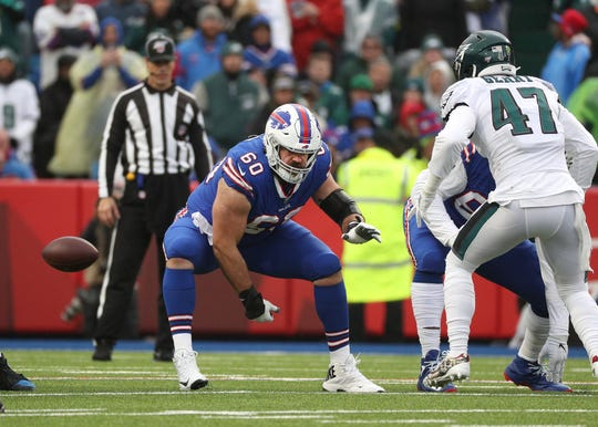Bills center Mitch Morse, a free agent from Kansas City, has been a major piece of Buffalo's playoff season. He was nearly lost to an ankle injury in last Saturday's loss to the New England Patriots.