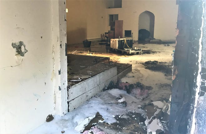 A fire at an abandoned church on Chestnut Street in downtown Redding did about $2,000 damage Sunday morning.