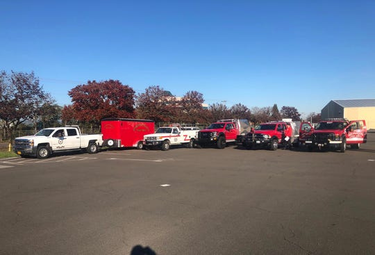 Seventeen firefighters from Marion County fire districts departed from the Salem Fire Station 6 to Redding, Calif. to help battle wildfires on Oct. 27, 2019.