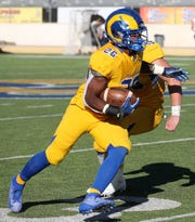 Angelo State University's Simon Maxey heads to the end zone for a 32-yard pick six against UT Permian Basin during a Lone Star Conference game at LeGrand Stadium at 1st Community Credit Union Field on Saturday, Oct. 26, 2019. ASU improved to 7-1 overall and 5-1 in LSC play with a 65-7 blowout.