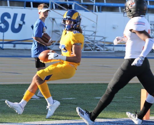 Angelo State University's Kellen Pachot scored a touchdown in the third quarter against UT Permian Basin at LeGrand Stadium at 1st Community Credit Union Field on Saturday, Oct. 26, 2019.