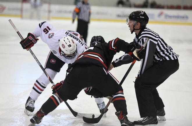 SCSU junior Will Hammer waits for a faceoff against Northeastern Saturday, Oct. 26, 2019, at Herb Brooks National Hockey Center.