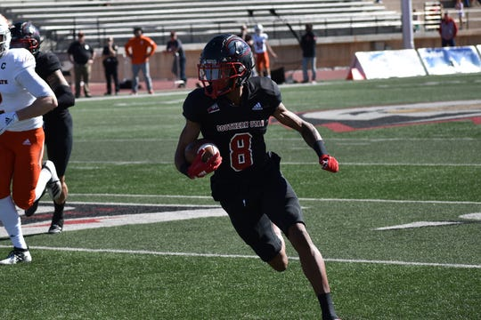 SUU's Carlton Johnson returns one of his two interceptions against Idaho State.