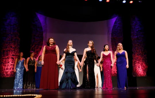 Finalists Brooke Doescher, Tabitha Hoyt, Cassidy Sairs, Taylor Swanson and Ariel Zdun wait for the runners-up and winner to be announced during the 2020 Miss Wisconsin Rapids Competition on Saturday, October 26, 2019, at the Performing Arts Center of Wisconsin Rapids in Wisconsin Rapids, Wis. Hoyt was crowned Miss Wisconsin Rapids 2020.Tork Mason/USA TODAY NETWORK-Wisconsin