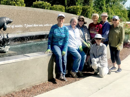 Volunteers from the Tallahassee Garden Club caring for plants in the Cancer Center's Healing Garden include Jane Berry, Maye Walker, Sue Hobbs, Beth Green, Robin Walls, Joan Stout, and ( kneeling) Marty Quinn.