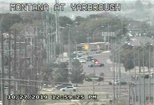 A Texas Department of Transportation camera shows Montana Avenue closed due to a rollover crash Sunday in East El Paso.
