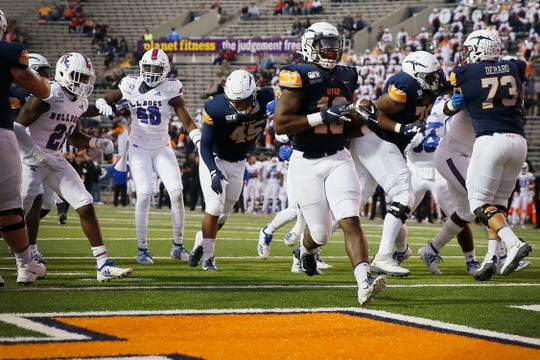 UTEP's Treyvon Hughes scores UTEP's first touchdown of the game against Louisiana Tech Saturday, Oct. 26, at the Sun Bowl in El Paso.