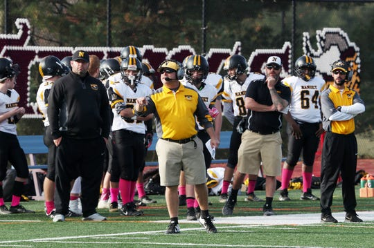 Nanuet coach Phil Carbone is pictured during a football game at Valhalla High School on Oct. 26, 2019.