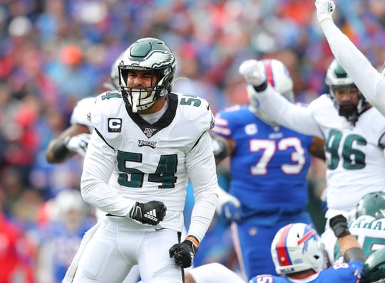 Kamu Grugier-Hill #54 of the Philadelphia Eagles reacts after making tackle during the first half against the Buffalo Bills at New Era Field on October 27, 2019 in Orchard Park, New York.