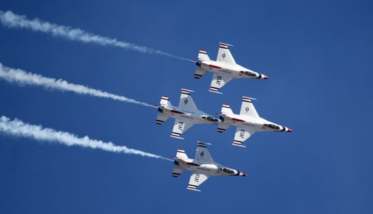 The U.S. Air Force Thunderbirds perform Saturday, Oct. 26, 2019, at the Sheppard Air Force Base Open House and Air Show.