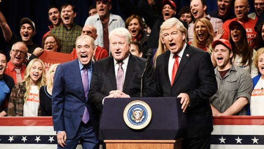 'SNL': Alec Baldwin's Trump skit jabs zealous rallygoers – with a cameo by an ISIS escapee