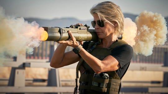 """Linda Hamilton returns, with sunglasses, in """"Terminator: Dark Fate."""""""