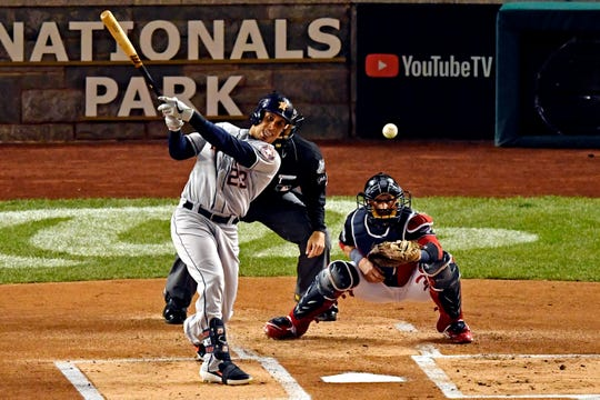 Game 4 – Michael Brantley hits a single in the first inning.