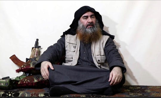Video image on a militant website on April 29, 2019, purports to show Abu Bakr al-Baghdadi.