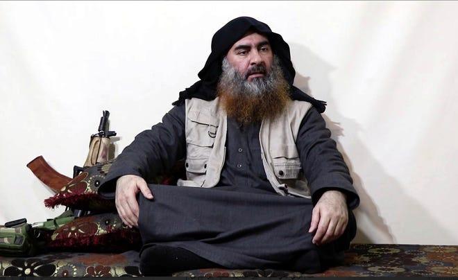 Video image on a militant website on April 29, 2019, purports to show Abu Bakr al-Baghdadi.