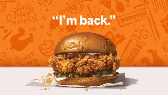 Popeyes Louisiana Kitchen's chicken sandwich returns to restaurants Nov. 3, which is National Sandwich Day.