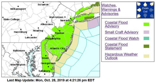 The bright-green sections of map may be at risk of coastal flooding this week.