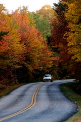 Visitors travel along the Blue Ridge Parkway October 28, 2019.
