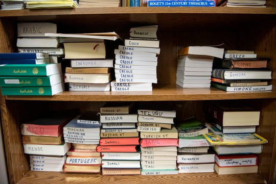 Various translations of the Bible inside the Calhoun County jail on Monday, Oct. 28, 2019 in Battle Creek, Mich.