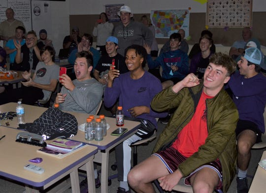 The Lakeview football team reacts after seeing its name come up on the screen during the MHSAA Football Playoff Selection Show on Sunday. Lakeview will play in the playoffs for the first time since 2016.
