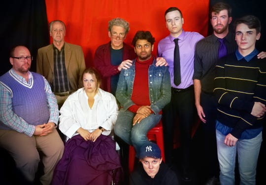 "The Cast of ""The Normal Heart"" is, from left, Jeff Steber (Tommy Boatwright), Chris Nickerson (Ben Weeks), Julia Adams (Dr. Emma Brookner), John Barry (Ned Weeks), Pratik Mamtora (Felix Turner), A.V. McNulty (David and Grady), Vito Longo (Bruce Niles), Isaac Weber (Mickey Marcus) and Trevor Terry (Craig and Hiram Keebler)."