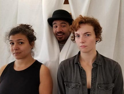 """Rosencrantz (Simone Alene, left) and Guildenstern (Chelsey Sheppard) with their traveling companion, the Player (Jesse Smith), in inD Theatre's production of """"Rosencrantz and Guildenstern Are Dead."""""""