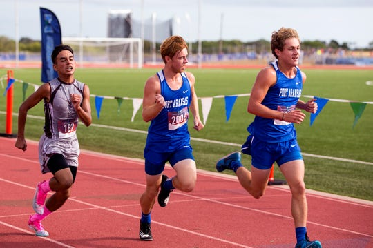 Runners participate in the UIL Region IV Cross Country Meet at Texas A&M University-Corpus Christi's Dugan Stadium on Monday, October 28, 2019.