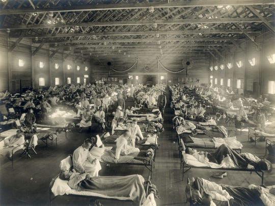 "Emergency hospital during influenza epidemic, Camp Funston, Kansas,"" probably early 1918 (NCP 1603)"