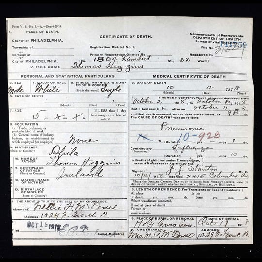 Flu Victim Death Certificate