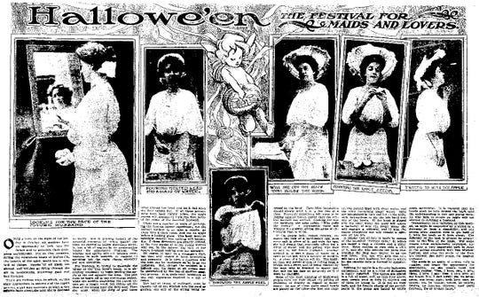 """""""Hallowe'en: The Festival for Maids and Lovers"""" article from The Cincinnati Enquirer, October 30, 1904."""