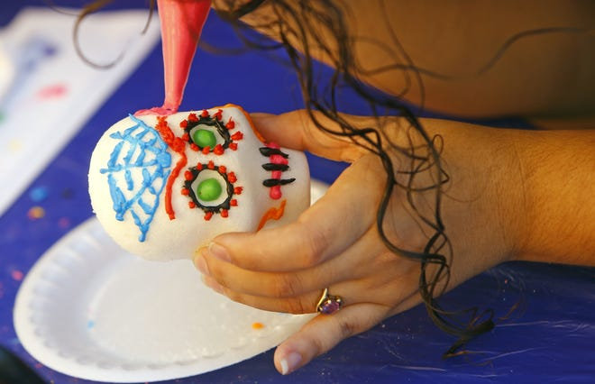 Sugar skulls are part of the observance of the Day of the Dead, or Dia de los Muertos, and are one of the crafts that will be offered in Central Park on Saturday in Henderson.
