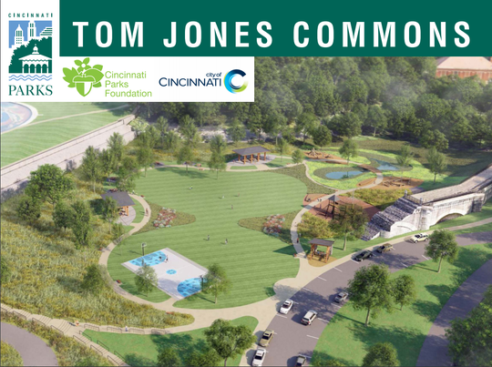 A rendering of the Tom Jones Commons at Eden Park. The field in Eden Park south of Mirror Lake and along Martin Drive near the old water reservoir will be transformed with a variety of features, according to the Cincinnati Park Board.